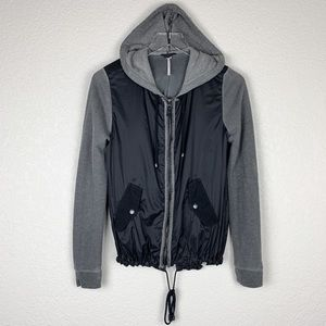 Free People Mixed Media Windbreaker Hoodie Jacket